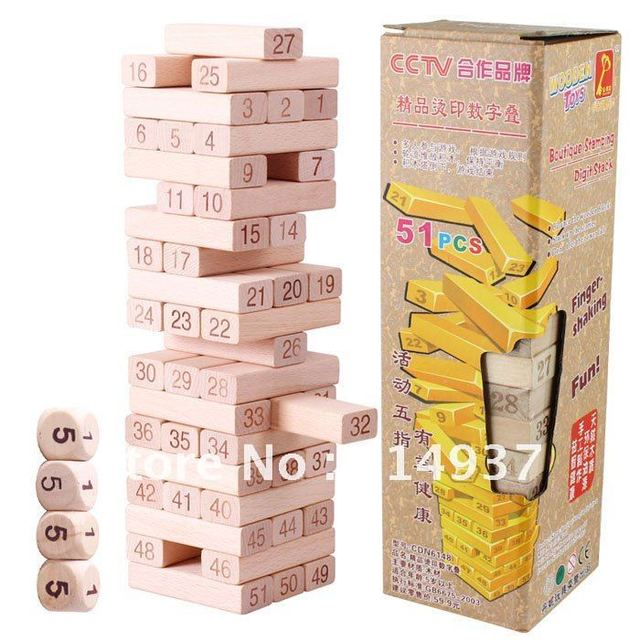Excellent quality Exported toys DANNI wooden building blocks UNO Stacko Wooden toys intelligence toys Jenga 51pcs