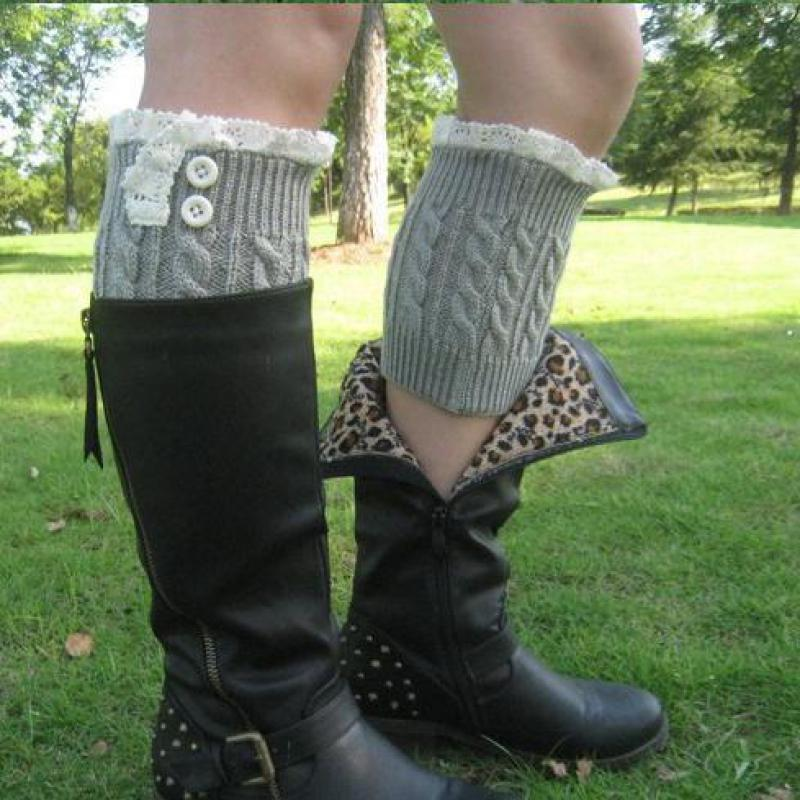 Гаджет  New 2014 women knit boot cuffs acrylic cable pattern lace boot socks buttons leg warmers bontique accessory knitted gaiters None Одежда и аксессуары