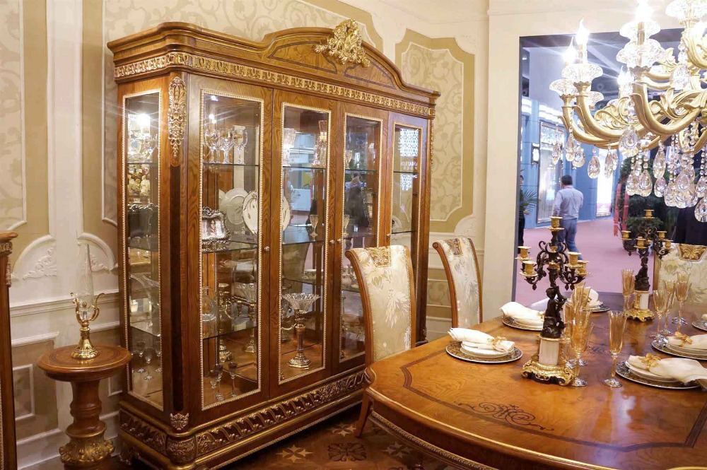 2014 Rushed New Cabinets Antique Furniture Storage Cabinet Bisini Luxury Living Room Solid Wood Design 4 Doors Showcase with(China (Mainland))