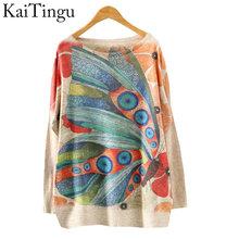 KaiTingu 2016 Brand New Fashion Autumn And Winter Women Sweater Pullover Long Batwing Sleeve Print O-Neck Jumper Knitwear(China (Mainland))