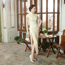 Buy 100% Brand New Arrival Chinese Traditional Women's Solid Lace Mandarin Collor Long Cheong-sam Dress S M L XL XXL 071301 for $41.79 in AliExpress store