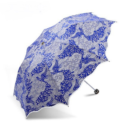 free shipping Super paradise umbrella sun block uv female phoenix lace embroidery umbrellas fold the sun umbrella(China (Mainland))