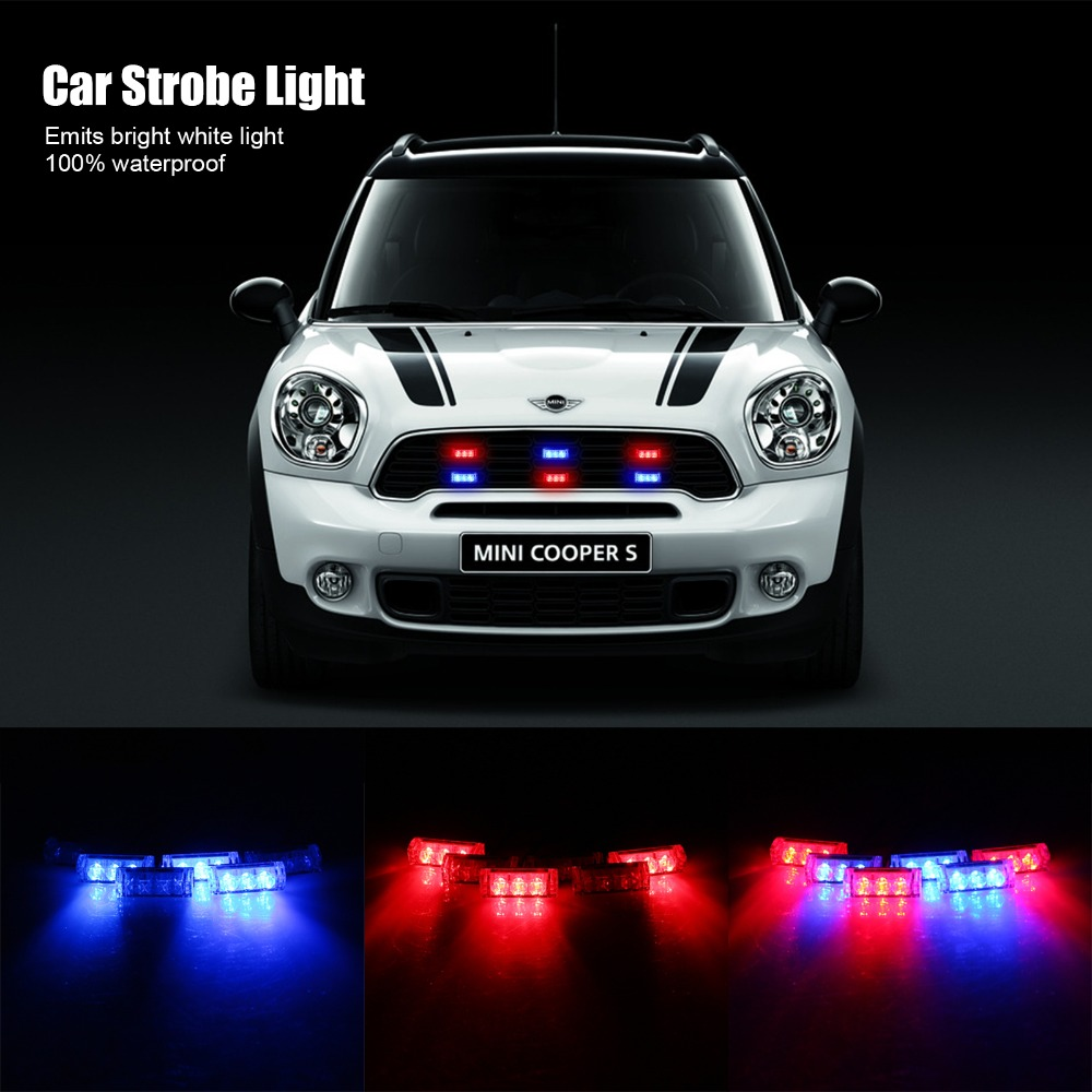 6 Bars 3-LED Blue & Red Car Emergency Flash Warning LED Strobe Light 3 Mode for Auto Front Grille Boat Police Firefighter(China (Mainland))