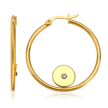 Fashion Jewelry Hot Sale Wholesale Gold plated CZ Hoop Earrings For Women Round Lady's Earrings