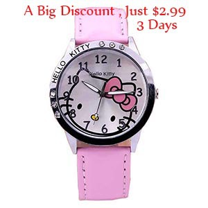 New Hello Kitty Lovely Cartoon Baby Fashion Watches Women Girls Kids Sports Casual Wristwatches Leather Band Alloy Free Shipping(China (Mainland))
