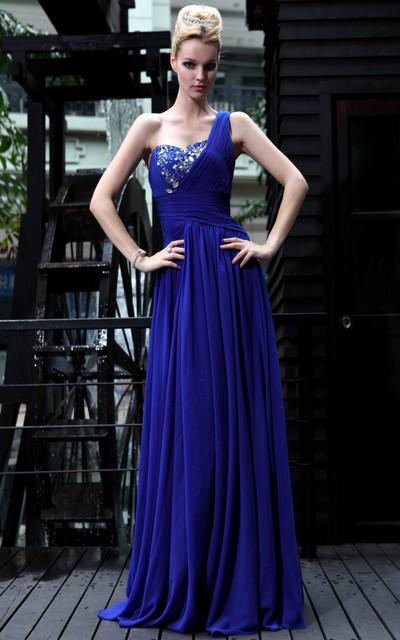 Новый 2016 одно плечо шифон вечерние платья длиной дизайн роскошное платье Жилетidos ...