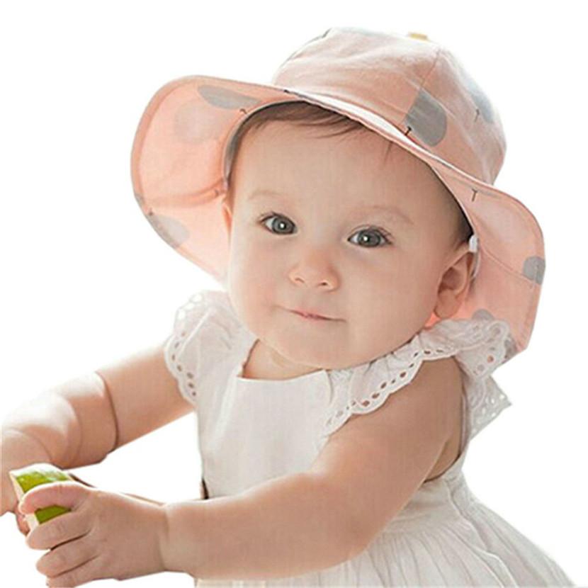 New Summer Hat Outdoor dot Beach Bucket Unisex Children's Baby Sun Hat Cap Fashion Infant kids Visor Sun Hats(China (Mainland))