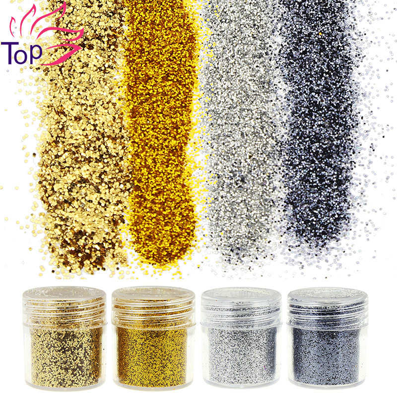 4 Bottle/Set Gold Silver Black Sequin Dust Gem Nail Glitter Decorations Acrylic UV Glitter Powder 3D Nail Art Tips BG057-060(China (Mainland))
