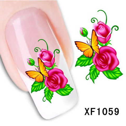 Rose Decal Nail Sticker Nail Art Water Decals All For Stikers Products For Women Free Shipping Nails Stickers Transfer NXF1059(China (Mainland))