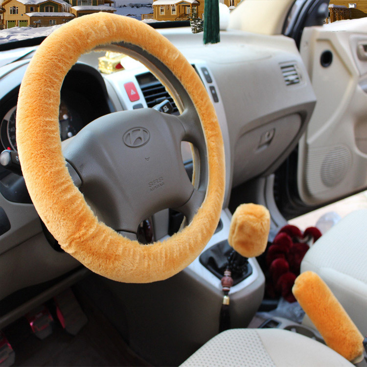 Fashion Universal 38cm Cashmere Auto Car Steering Wheel Covers+Handbrake jacket+car Automatic Covers for lady women(China (Mainland))