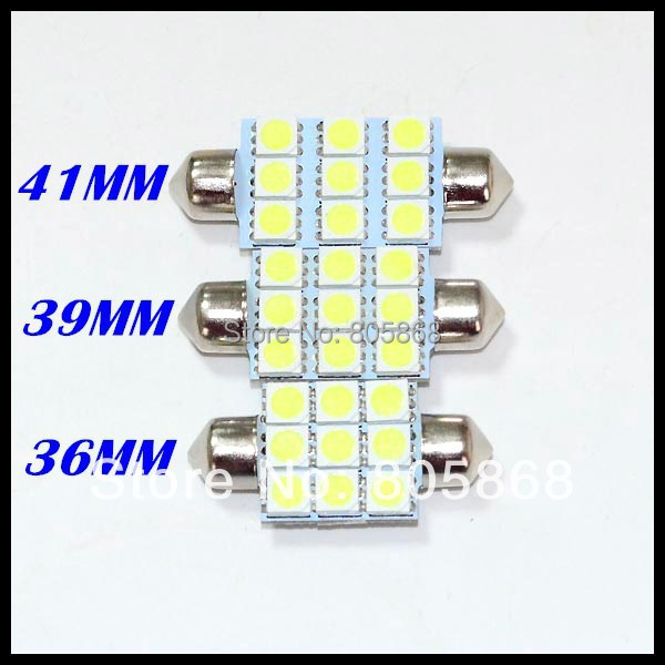 Car LED for dome light Festoon led smd 5050 9led 39mm 36mm Luggage Compartment lights\ clearance lamps\ door Bulb free shipping