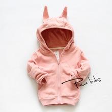 2015 new Autumn spring cartoon rabbit Children Outerwear vestidos hooded girls boy sweatshirt kids clothes moleton