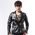 S 5XL 2016 Male dj punk applique for harley motorcycle leather clothing suit male costume stage