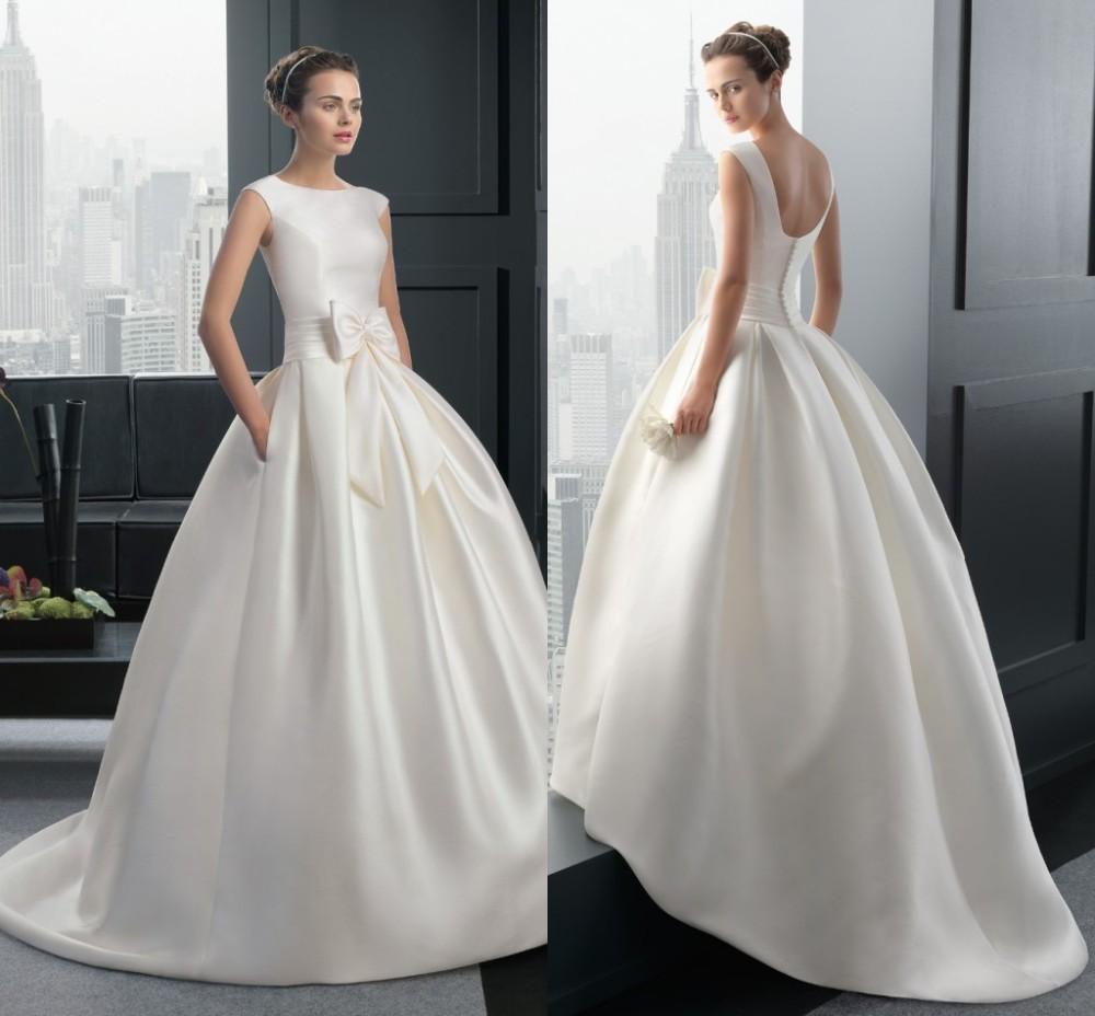 Buy Modest Wedding Dress Bow 2015 Elegant