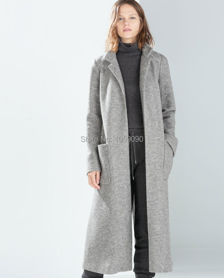 Ladies Grey Wool Coat | Down Coat