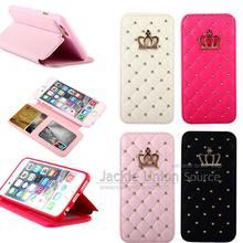 Buy Diamond Crown Bling Soft Leather Flip Cove iphone 6plus Stand Card Holder Wallet Case Apple iPhone 6 Plus Phone Cases for $6.61 in AliExpress store