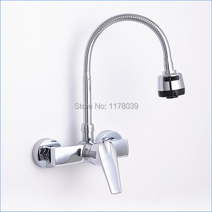 wall mount 2 hole brass kitchen faucet kitchen hot and