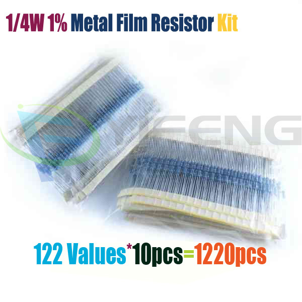 Гаджет  Free Shipping 1/4W 0.25W 122valuesx10pcs=1220pcs 0.33R~4.7M 1% Metal Film Resistor Assorted Kit None Электронные компоненты и материалы