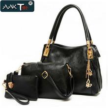 AAKT Brand Women Handbags 2016 Latest Leather Shoulder Bag Women Messenger Bags Ladies Clutch Handbag+Messenger Bag+Purse 3 Sets