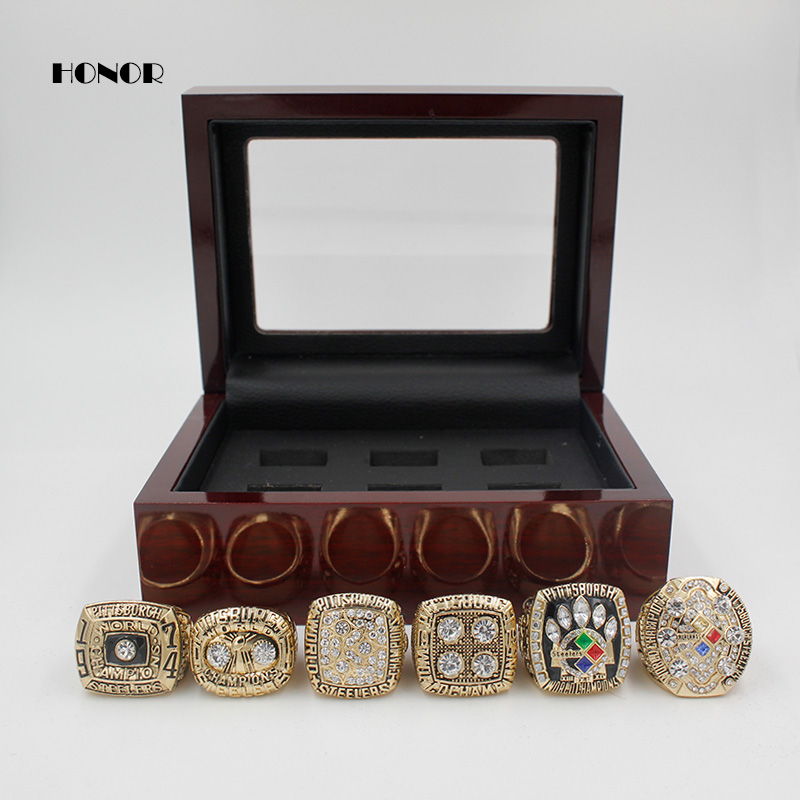 Pittsburgh Steelers Championship rings set 1974 1975 1978 1979 2005 2008 6pcs Super Bowl Ring for man fans as the souvenir(China (Mainland))