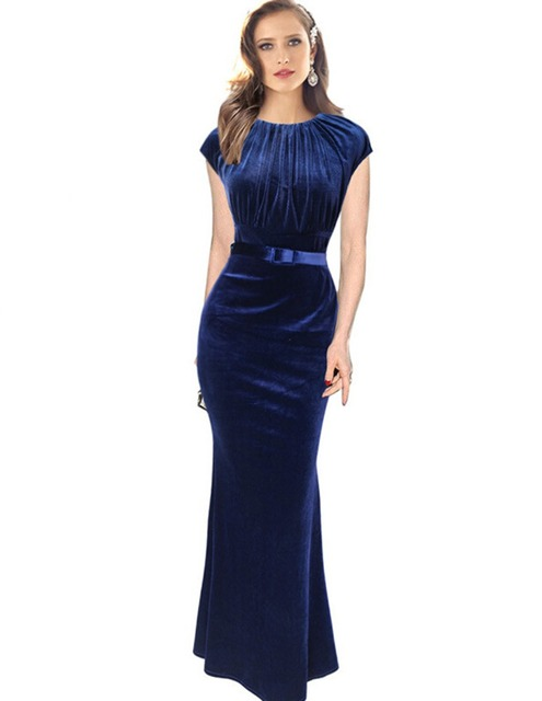casual autumn velvet sleeveless navy blue long dress women