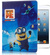 Hot selling Despicable Me 2 minion cartoon intelligent sleep flip smart wake up pu leather cover case for Apple Ipad 2 3 4