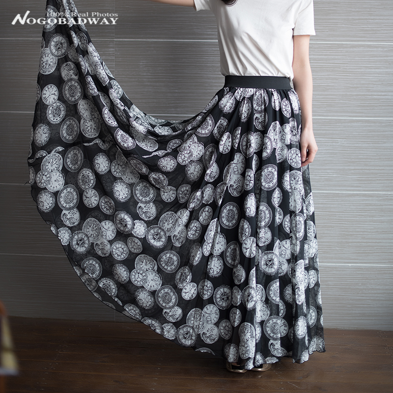 Plus size vintage printed chiffon casual skirts womens summer 2016 new fashion maxi floor-length elastic waist long full skirt - Nogobadway store