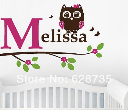 Free shipping personalized name owl wall decal , Girl owl with initial an
