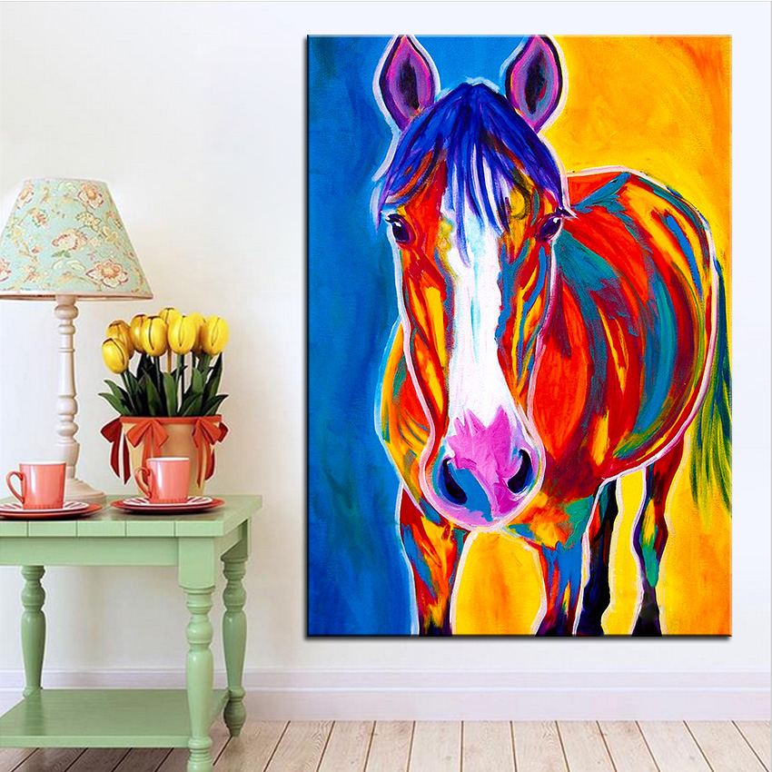 Large size Print Oil Painting Wall painting horse pistol Home Decorative Wall Art Picture For Living Room paintng No Frame(China (Mainland))