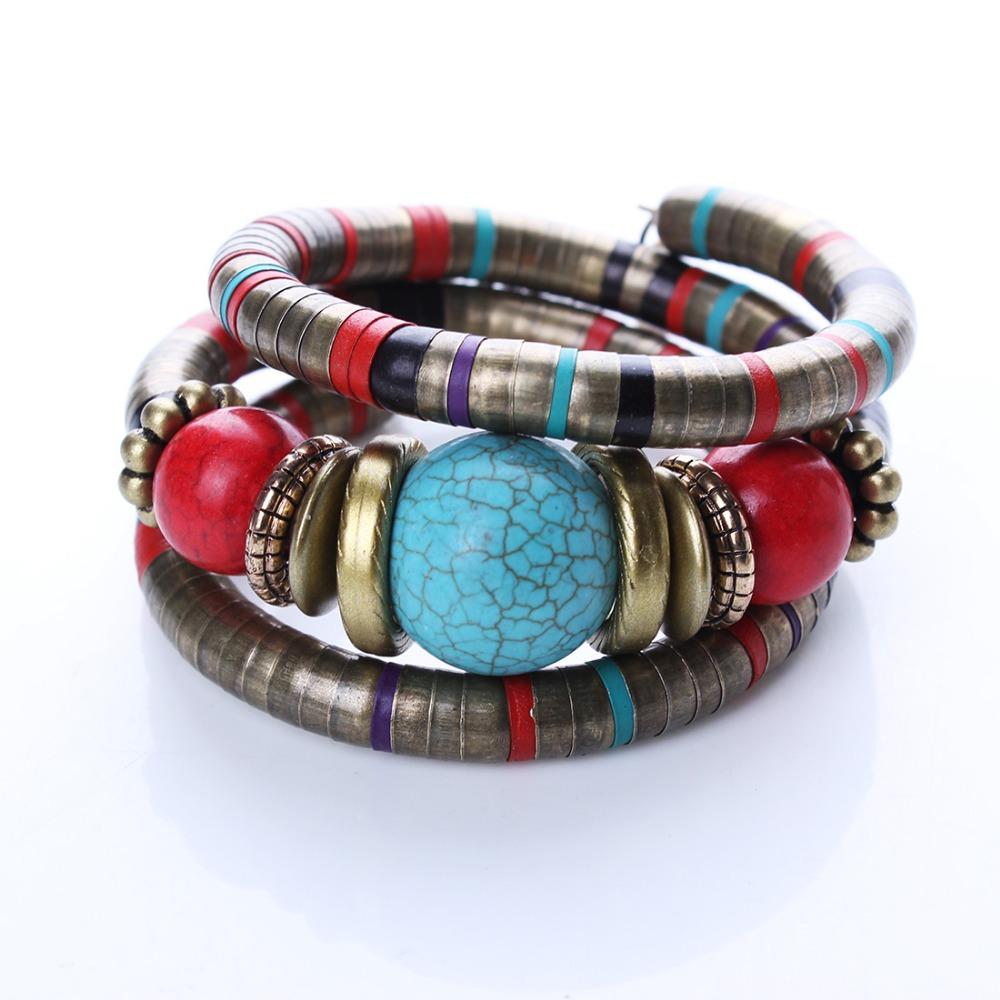 Гаджет  Hot Jewelry Tibetan Silver Bracelet Turquoise Inlay Roundness Bead Adjust Bangle B0229 None Ювелирные изделия и часы