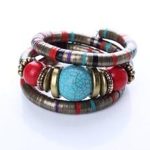 Hot Jewelry Tibetan Silver Bracelet Turquoise Inlay Roundness Bead Adjust Bangle B0229(China (Mainland))