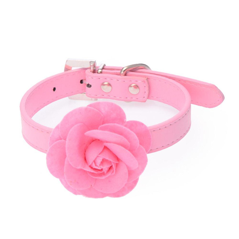 Sweet Rose Studded Puppy Pet Collar Leather Buckle Neck Strap Collars quality first(China (Mainland))