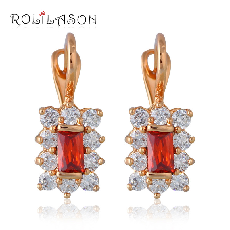 AAA Zirconia 18k gold plated Red Crystal Hoop Earrings women earrings Health Nickel & Lead free Fashion jewelry JE1045(China (Mainland))