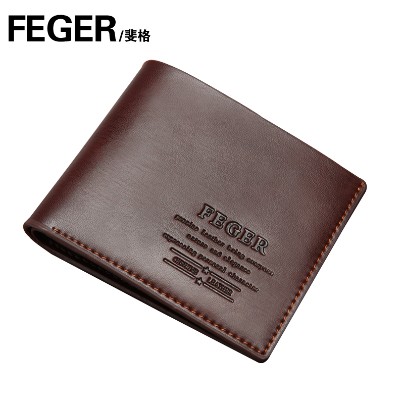 Free shipping Feger short design series male cowhide wallet fashion purse 1125(China (Mainland))