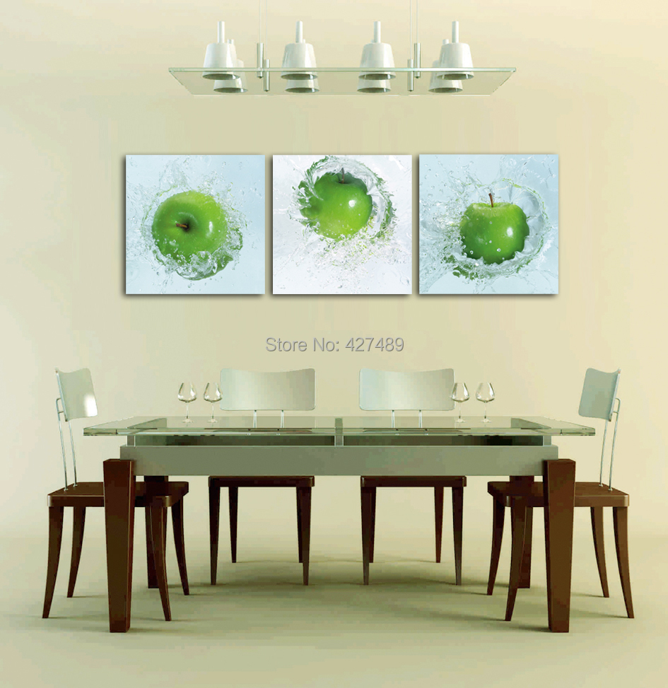 3 Panel Modern Wall Art Home Decoration Frameless Oil Painting Canvas Prints Pictures P31 Green Apple