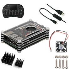 5 in1 комплект для малина Pi 2 и B +, Клавиатура + нарезанный 9 слоя чехол коробка + вентилятор охлаждения + алюминиевые радиаторы + ( черный )