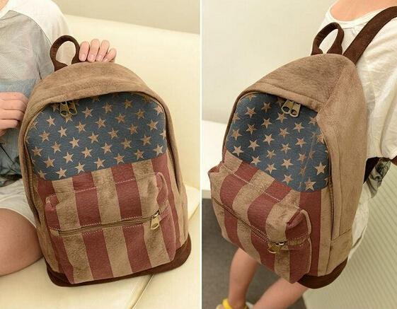 2015 Hot !!! Pretty Style Uk Us Flag Canvas Women Backpack School Bag For Girls Women Travel Bag Book Bag Female Mochila(China (Mainland))