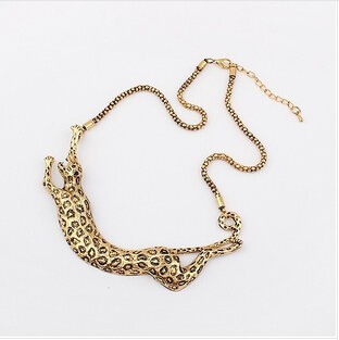 2014 Newest Jewelry For Women Gift Gold Leopard Exaggerated Metal Alloy Choker Statement Necklaces Pendants