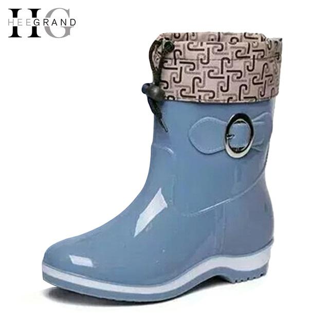 ХИ ВЕЛИКИЙ Дождь Сапоги Резиновые Женщины Ботильоны Случайные Туфли На Платформе Женщина Теплые Квартиры Женская Обувь Размер 36-40 XWX4497
