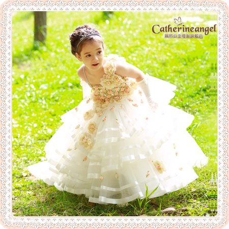 Flowers Ocean! 2015 new girl's princess wedding dress female Children's one-piece lace baby girl year party ball - Super-Mom store