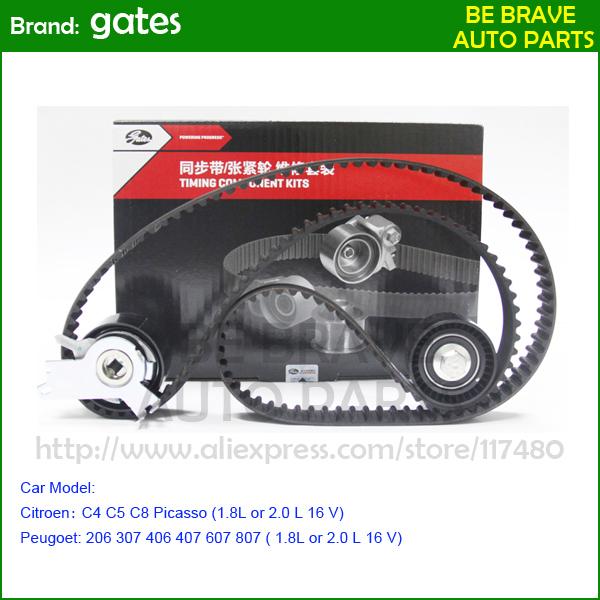 Gates drive belt Citroen C4 C5 C8 Picasso Peugoet 206 307 406 407 607 807 ( 1.8L or 2.0 L 16 V) Tensioner idler timing belt kits(China (Mainland))