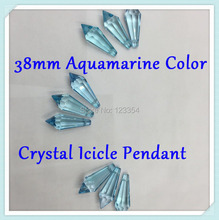 80pcs 38mm Icicle Shape Aquamarine Chandelier Crystal Icicle Spear U-Drop Prisms DIY Hanging Crystal Pendant K9 Glass Prism(China (Mainland))