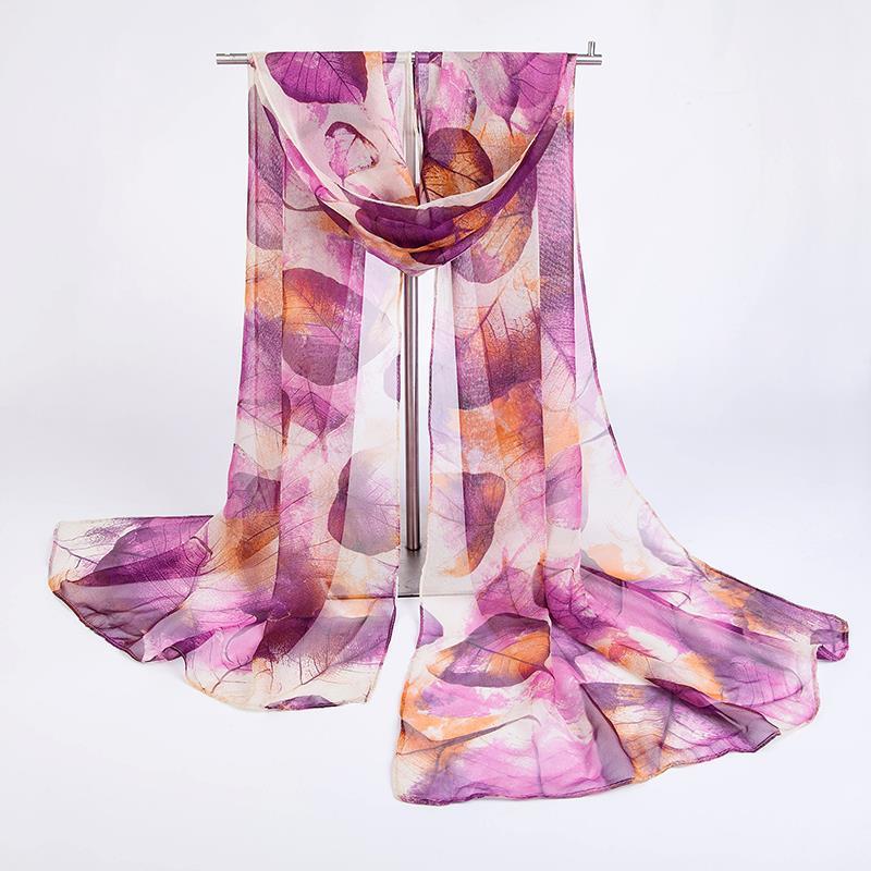 אופנה ג ' ורג ' ט צעיף נשים סתיו חורף צעיף מלבני עלים הדפסה צעיף דק ארוך רעננות תחפושות, אביזרים