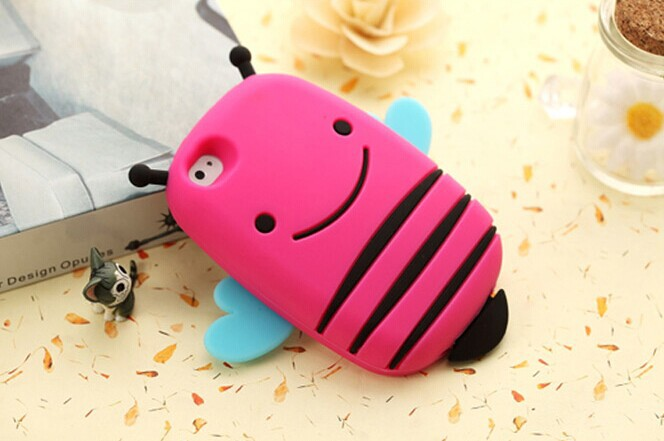100PCS new 3 d bee following iphone 4 4 s apple 5 5 s cartoon silicone mobile phone protection shell