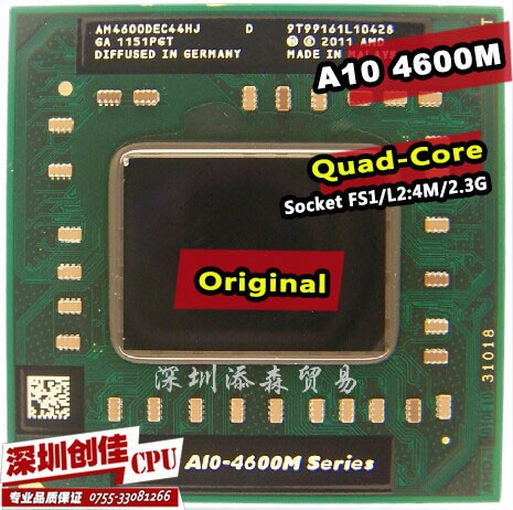 Shipping free For AMD laptop Mobile A10 4600M A10-4600m original Socket FS1 CPU 4M Cache/2.3GHz/Quad-Core processor(China (Mainland))