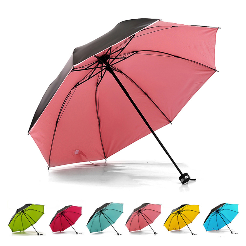 Black Coating Anti-UV sun umbrella women Black Color umbrella Sunny Rain Umbrella Trendy Pure Folding Umbrella 1 Pc A45(China (Mainland))