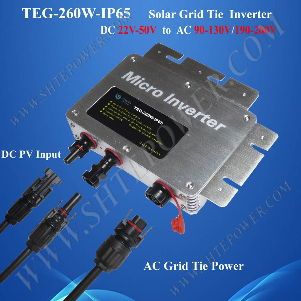 solar inverters manufactures 260w solar micro grid tie inverter waterproof dc 24v 36v 48v(China (Mainland))