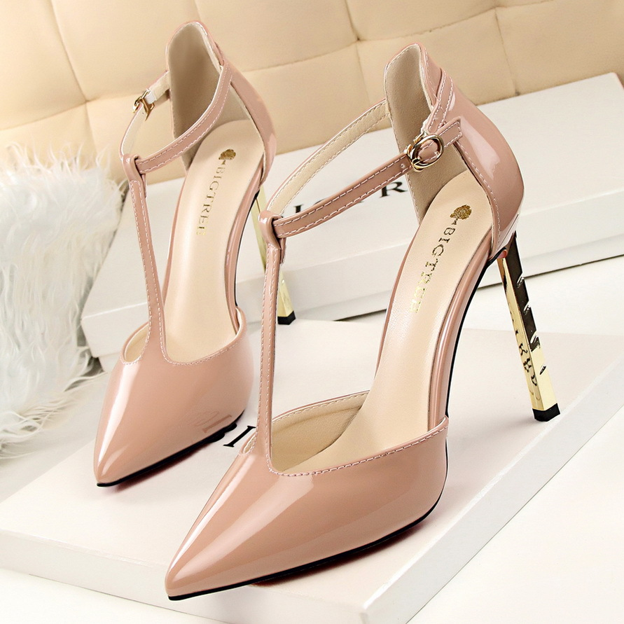 Summer Autumn Pumps Metal Plating Gold Sexy Thin High Heel Shoes Pointed Patent Leather T Strap