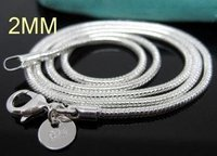Free Shipping Wholesale Fashion Jewelry, 925 Silver 2MM Snake Chain Necklace (The Length 16'',18'',20'',22'',24'')