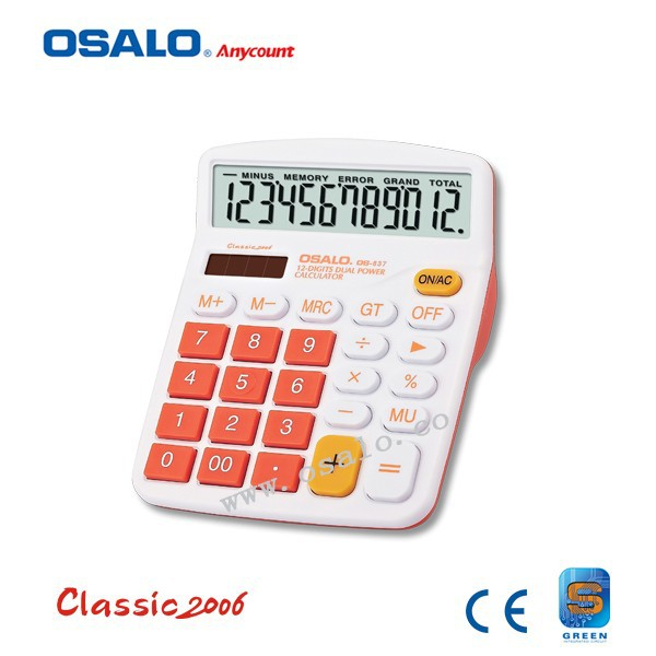 OS-837VC Colorful 12-digits Dual Power Electronic Calculator Solar Calculadora Hesap Makinesi Office & School Calculatrice(China (Mainland))